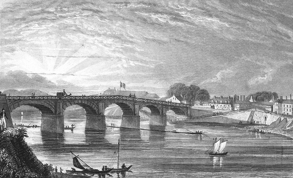 Associate Product PARIS. Pont Bois, Choisi--Roi. river bridge 1828 old antique print picture
