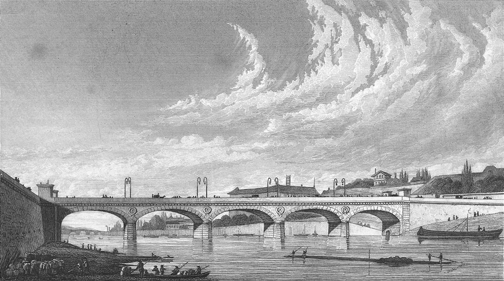 Associate Product PARIS. Pont de Jena. Pugin river bridge boats 1828 old antique print picture
