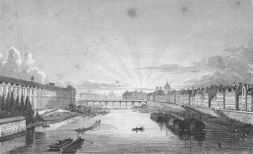 Associate Product PARIS. Pont arts Royal. Pugin river boats bridge 1828 old antique print