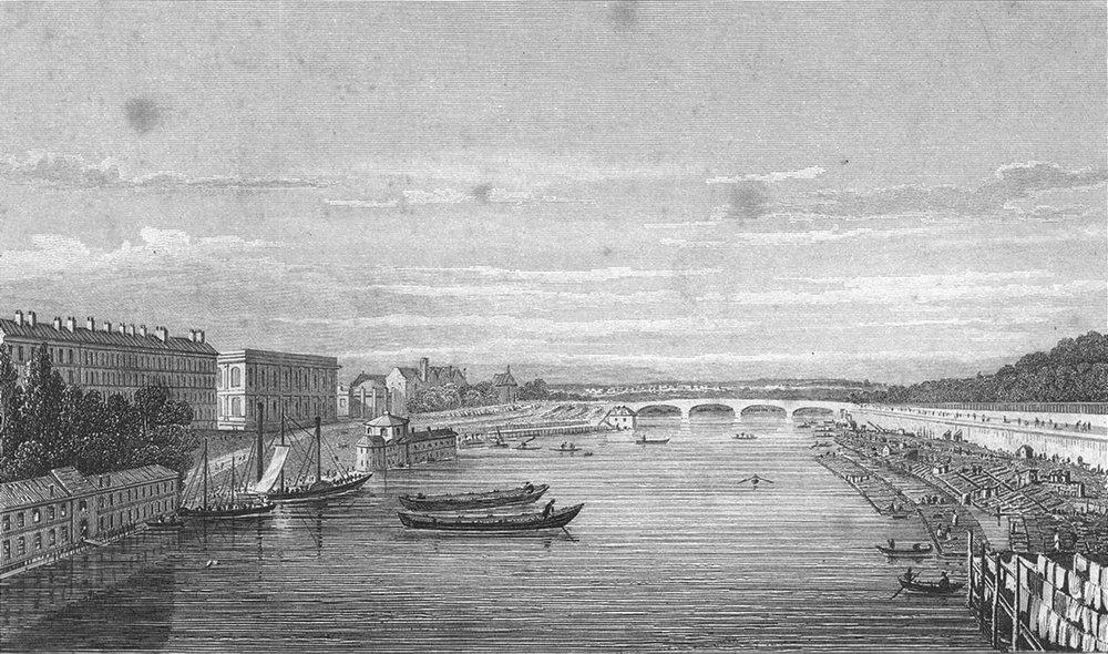 Associate Product PARIS. Pont Louis XVI, Royal. Seine boat 1828 old antique print picture