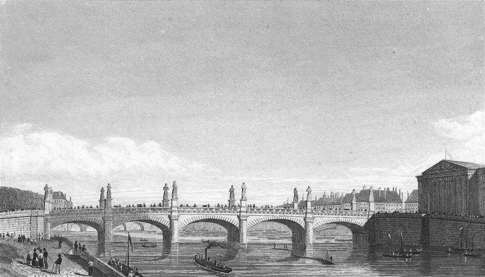 Associate Product PARIS. Pont Louis XVI. Pugin river boats bridge 1828 old antique print picture