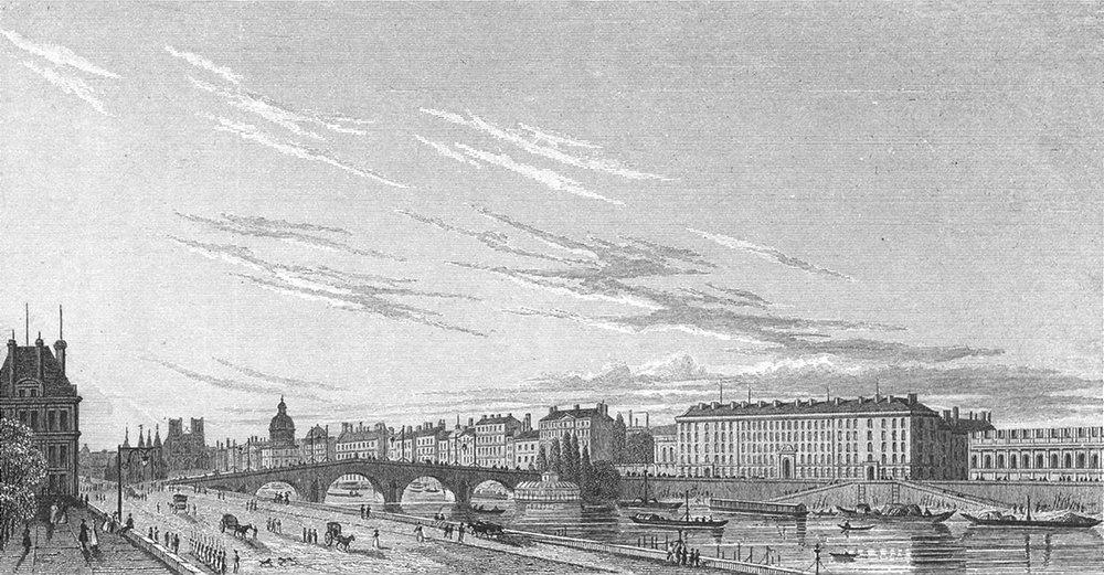 Associate Product PARIS. Pont Royal Hotel Gardes Corps. France. Garde 1828 old antique print