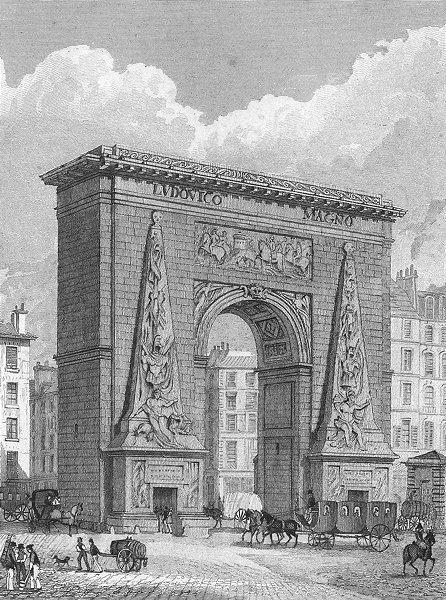 Associate Product PARIS. Porte St Denis. Horse coach dog barrel 1828 old antique print picture
