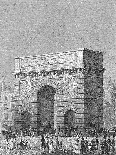 Associate Product PARIS. Porte St Martin. Stalls Horse coach 1828 old antique print picture