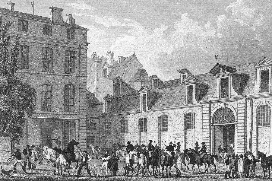PARIS. Poste Royale. France. Pugin Horses Dogs 1828 old antique print picture