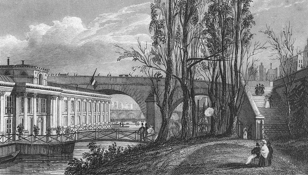 Associate Product PARIS. Bains Vigier, Pont Royal. Pugin bridge Flag 1828 old antique print