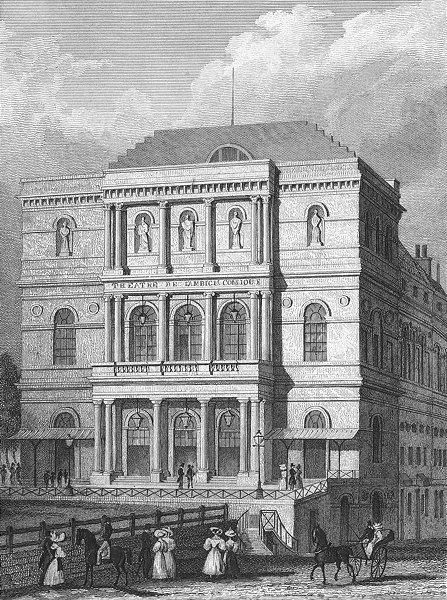 Associate Product PARIS. Theatre L'ambigu Comique. horse coach 1828 old antique print picture