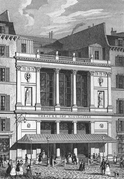 Associate Product PARIS. Theatre Nouveautes. France. Pugin Dogs 1828 old antique print picture