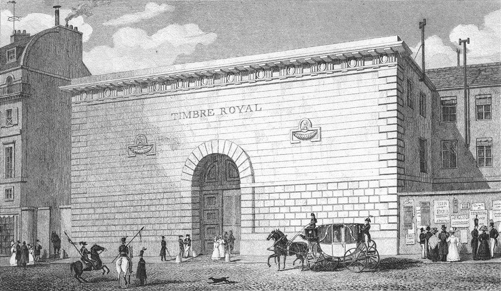 Associate Product PARIS. Timbre Royal. Horse drawn coach dog 1828 old antique print picture