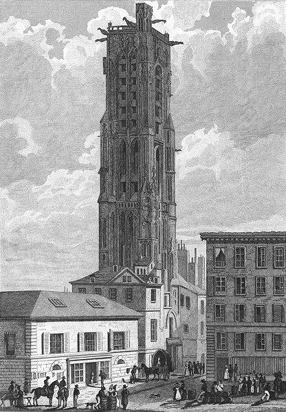 Associate Product PARIS. Tour St Jacques Boucherie. Jaques barrel 1828 old antique print picture