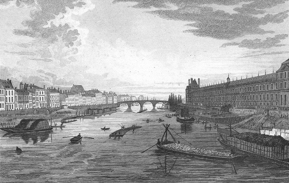 Associate Product PARIS. View Pont Arts. France. Pugin river boats 1828 old antique print