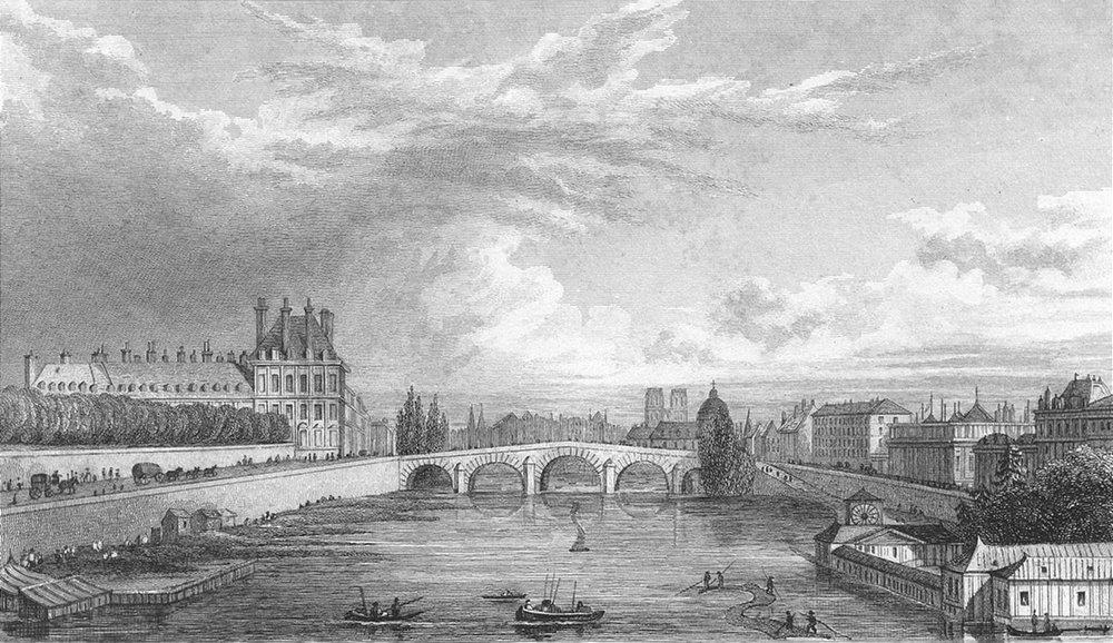Associate Product SEINE. Prise Pont Louis XVI. Paris river boat 1828 old antique print picture