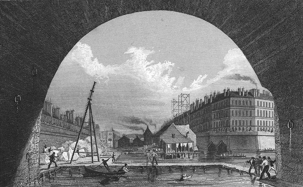 Associate Product SEINE. De(Prise du Dessous Le Pont). Pugin Paris 1828 old antique print