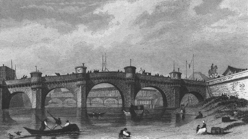 Associate Product PARIS. Pont Neuf. bathing river boat bridge 1828 old antique print picture