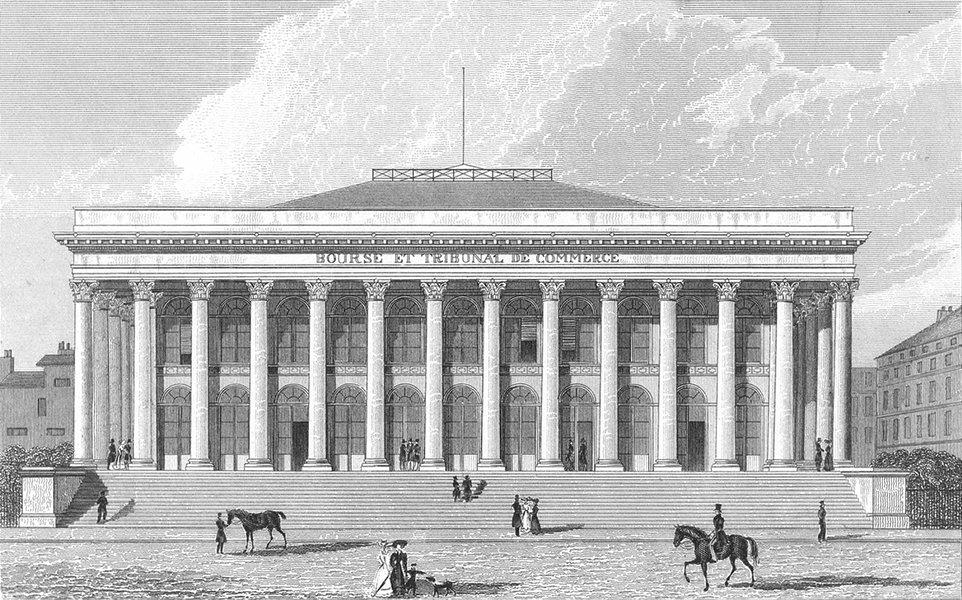 Associate Product PARIS. Bourse. France. Pugin Dog Horses 1834 old antique vintage print picture