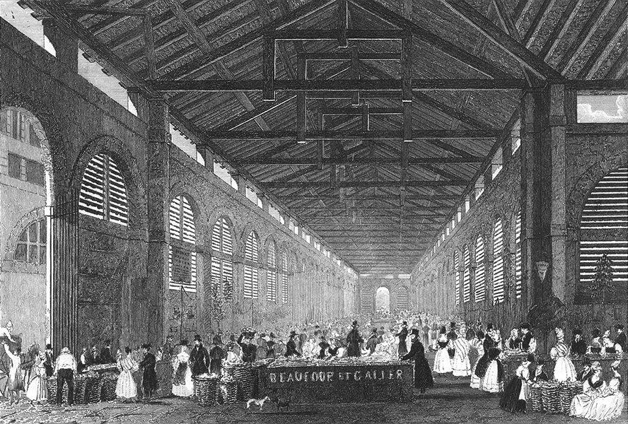 Associate Product FRANCE. Marche de St Germain. Pugin Paris Le print 1834 old antique