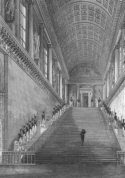 Associate Product PARIS. L'escalier Chambre Pairs. troops attention 1828 old antique print