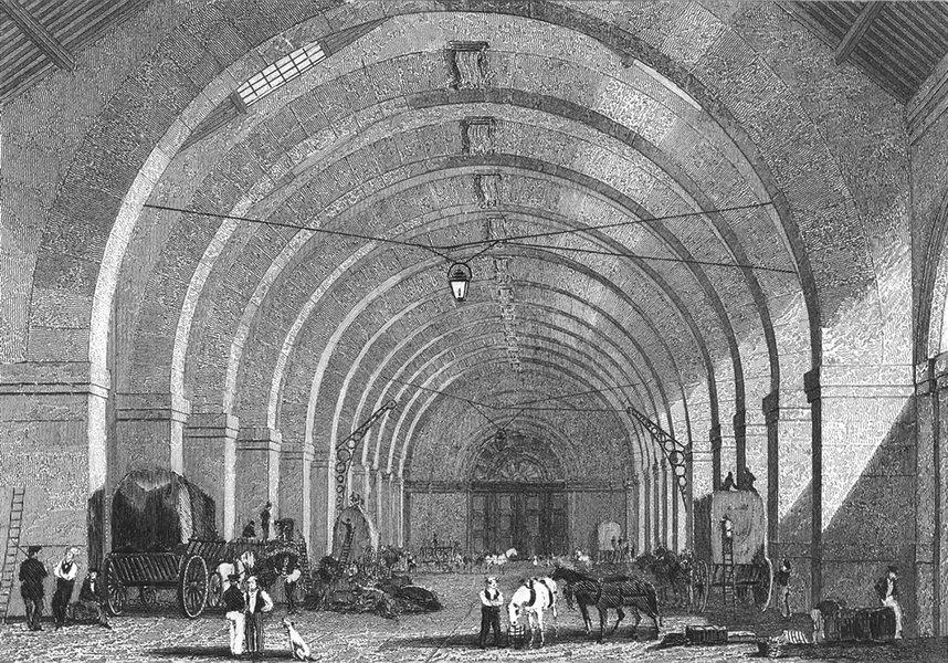 Associate Product PARIS. Octroi General. Pugin Dog Horses Carts 1828 old antique print picture