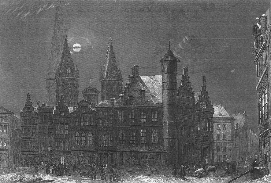 Associate Product BELGIUM. Freitagsmarkt Gent. Wolff. (Ghent)Moonlight 1844 old antique print