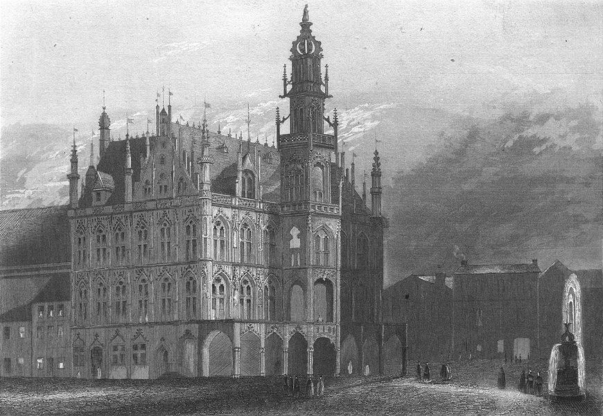 OUDENAARDE. Rathhaus. Wolff. town Hall Fountain 1844 old antique print picture