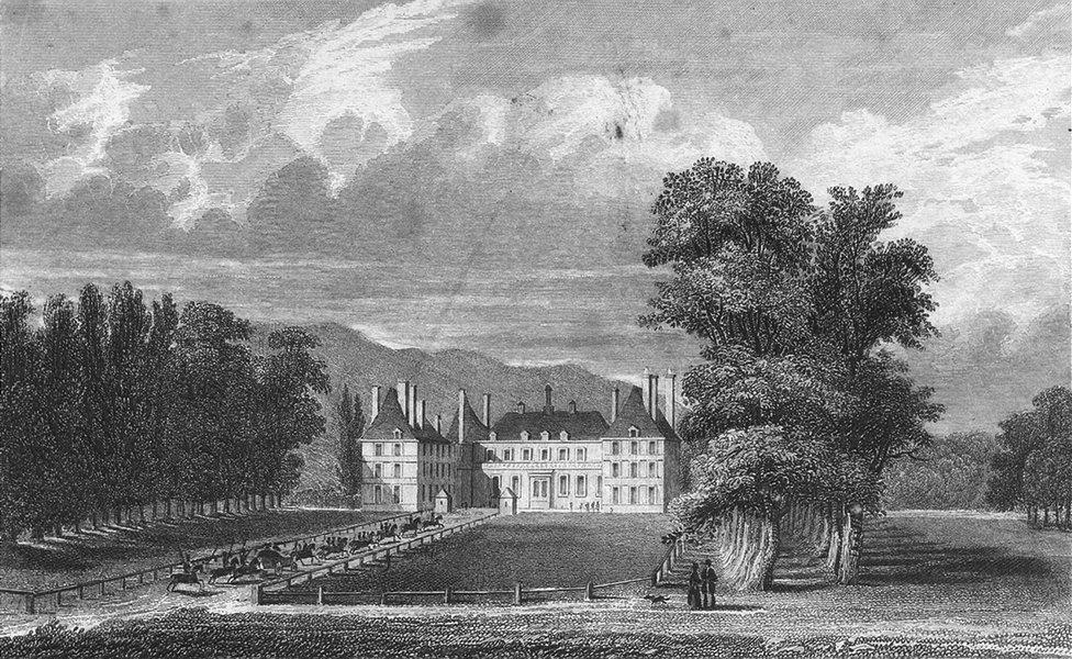 Associate Product PARIS. Chateau Rosny. horse dog coach lake 1828 old antique print picture