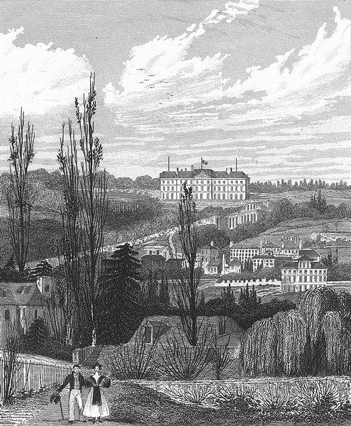 Associate Product MEUDON. Chateau Royal(Pres Fleury). Paris couple 1834 old antique print