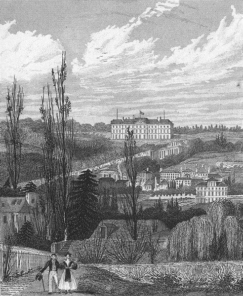 Associate Product MEUDON. Chateau Royal(Pres Fleury). Paris couple 1828 old antique print