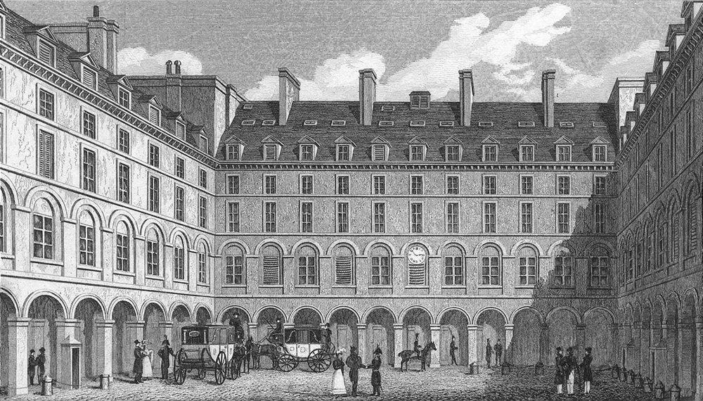 Associate Product PARIS. Cour du Ministre finances. Pugin Carriages 1828 old antique print