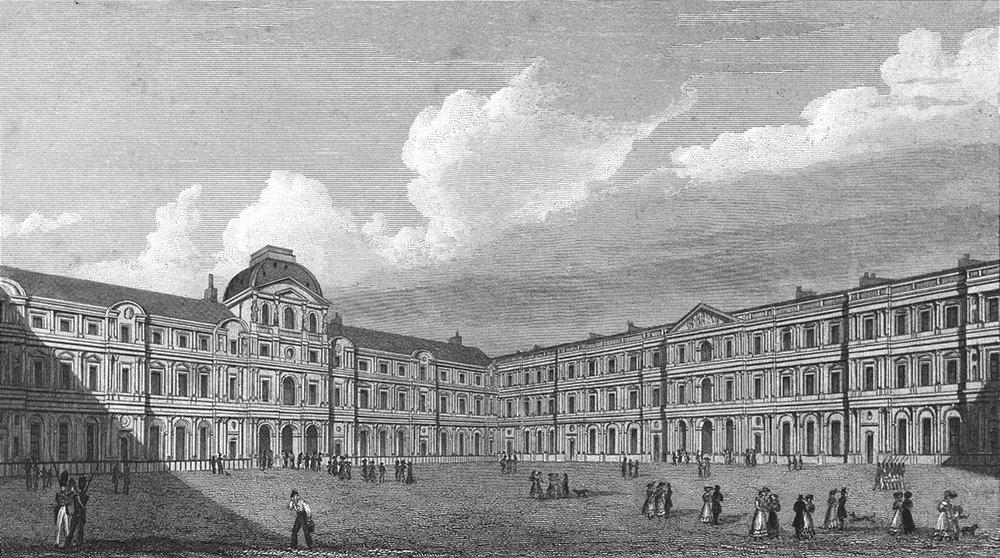 Associate Product PARIS. Court of Louvre. France. Pugin-Roberts 1828 old antique print picture