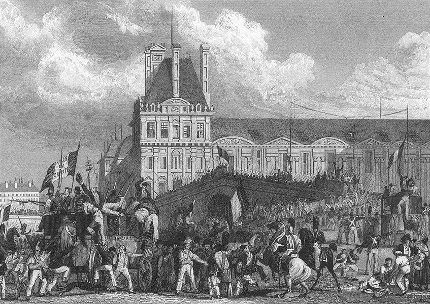 Associate Product RAMBOUILLET. Depart Populace, Pour. Paris flag 1828 old antique print picture