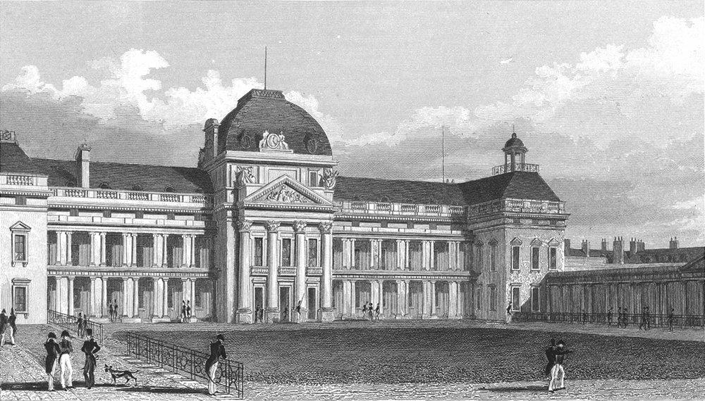 Associate Product PARIS. Ecole Militaire, Facade south. military Dog 1834 old antique print