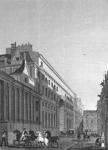 Associate Product PARIS. Ecuries Roi, Rue St Thomas Louvre. horse 1828 old antique print picture