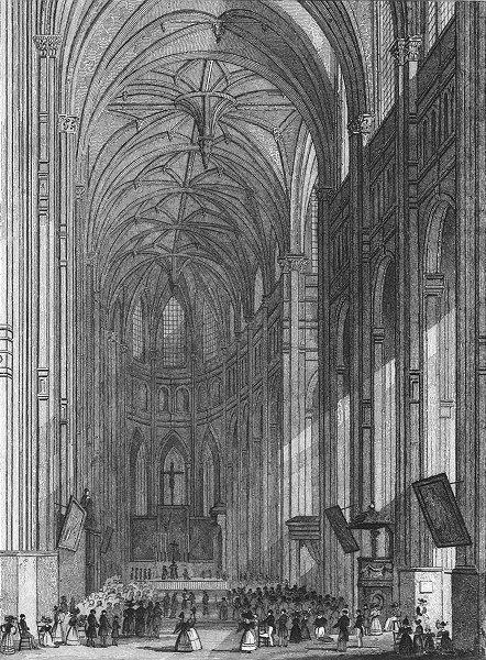PARIS. Eglise St Eustache. Eustace service 1828 old antique print picture
