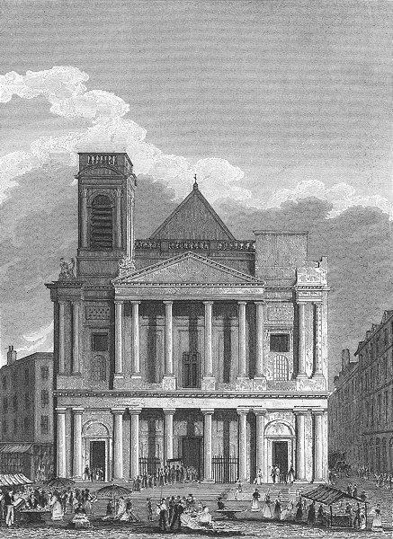 Associate Product PARIS. Eglise St Eustace L'occident. parade 1828 old antique print picture