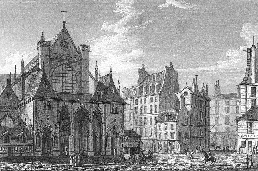 Associate Product ST GERMAIN. Eglise L'auxerrois. Paris horse coach 1828 old antique print