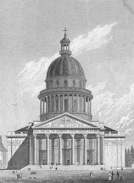 Associate Product PARIS. Eglise Ste Genevieve. Geneviene dog 1828 old antique print picture