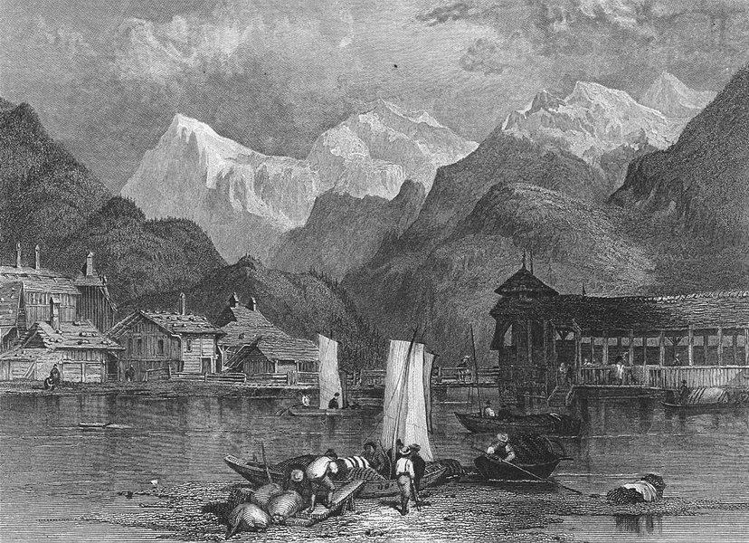 Associate Product INTERLAKEN. Swiss. Fullarton boats-Finden 1850 old antique print picture