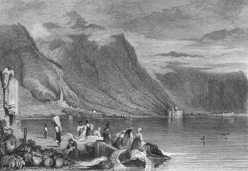 Associate Product CHILLON. lake Geneva. Swiss Montreux Prout 1830 old antique print picture