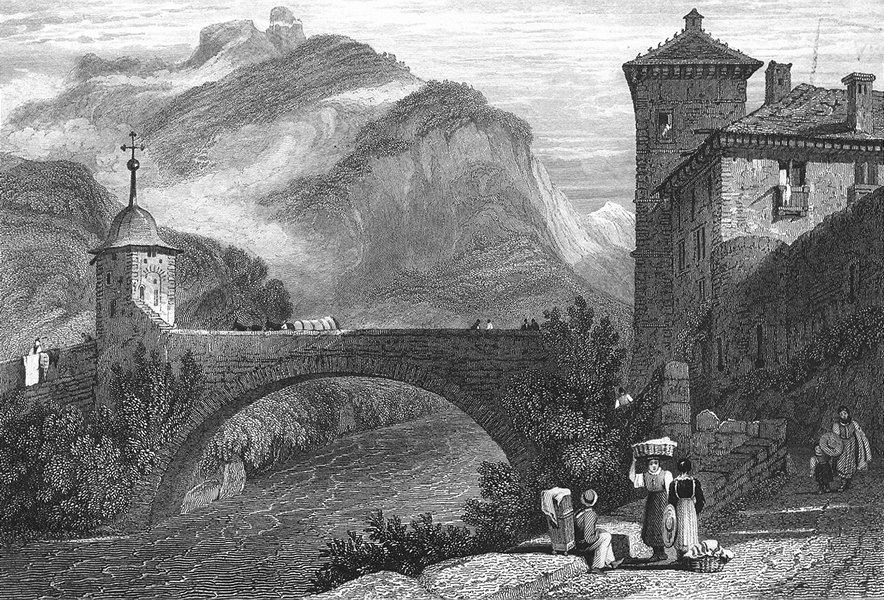 Associate Product SWITZERLAND. Bridge St Maurice. Swiss. Prout 1830 old antique print picture