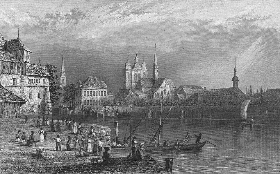 SWITZERLAND. Constance, Constanz. Swiss. boat 1830 old antique print picture
