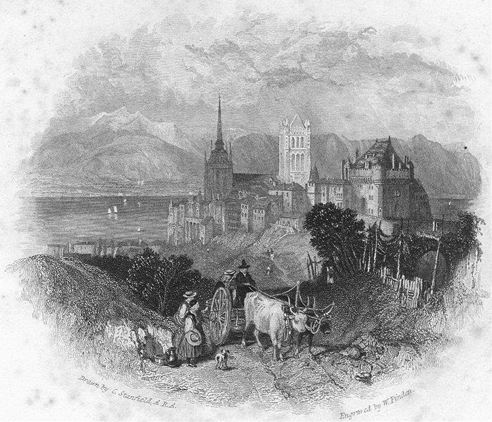 Associate Product SWITZERLAND. Lausanne. Swiss. Fullarton-Finden 1850 old antique print picture
