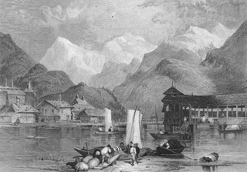 INTERLAKEN. Swiss. Fullarton Lausanne, Finden 1850 old antique print picture
