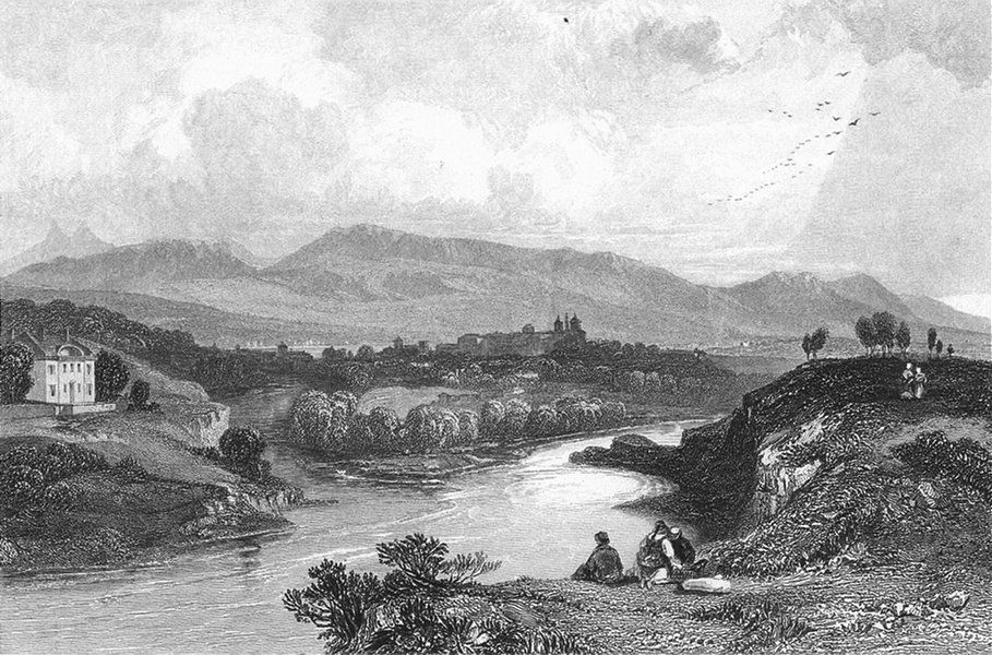 Associate Product SWITZERLAND. Geneva. Swiss. Fullarton-Finden 1850 old antique print picture