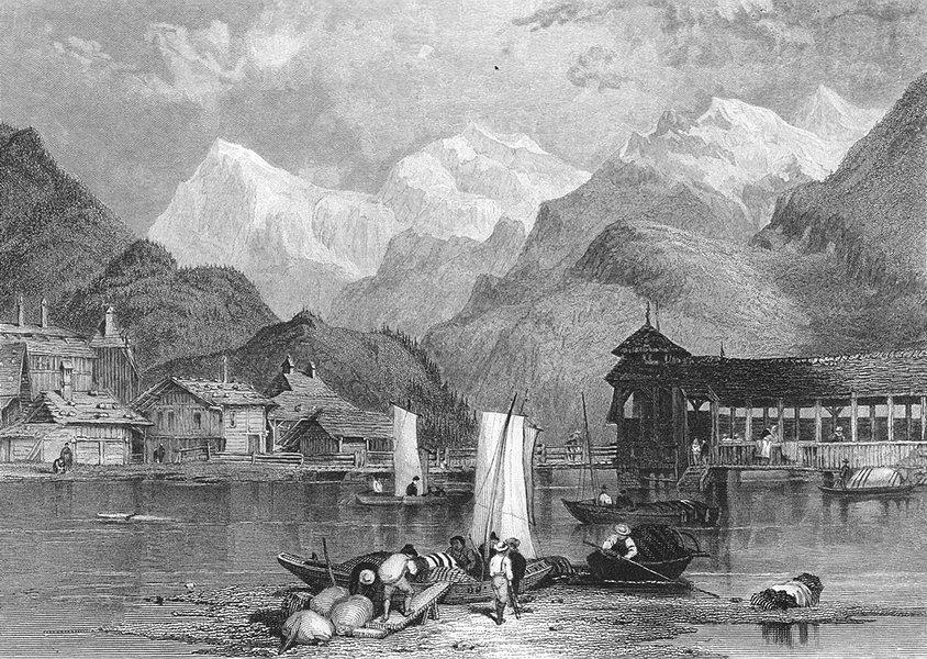 Associate Product SWITZERLAND. Interlaken. Swiss. Fullarton-Finden 1850 old antique print