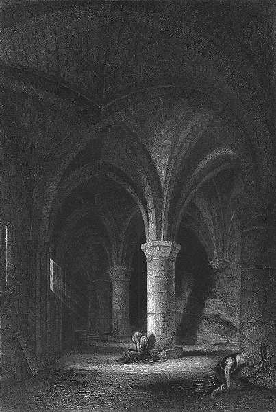 Associate Product CHILLON. Dungeon of. Swiss. Fullarton-Finden 1850 old antique print picture