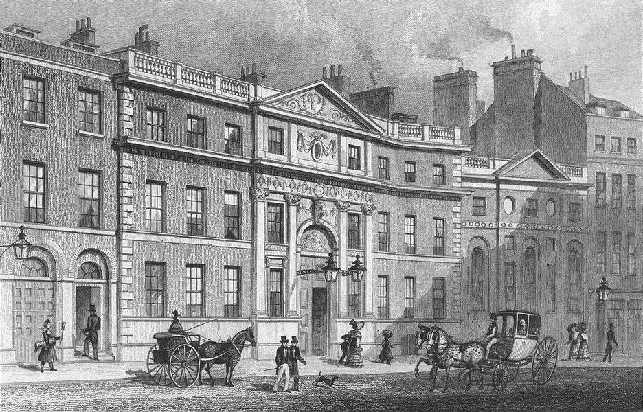 Associate Product LONDON. Drapers Hall, Throgmorton St 1829 old antique vintage print picture