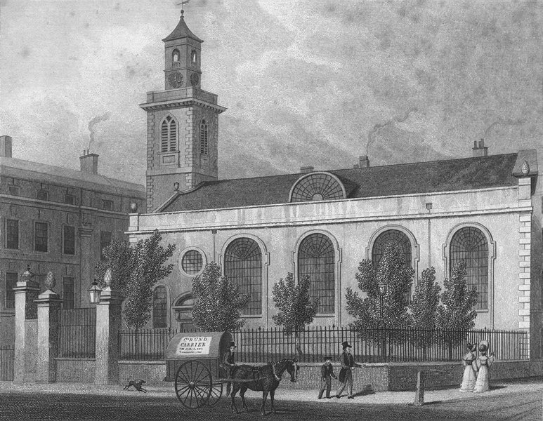 Associate Product LONDON. St Mary, Aldermanbury 1830 old antique vintage print picture
