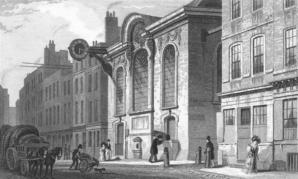 Associate Product LONDON. St Swithin, Stone, Cannon c1830 old antique vintage print picture