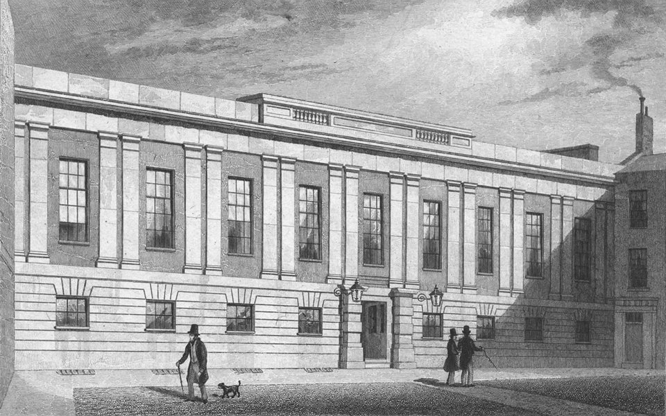 Associate Product BUILDINGS. Grocers Hall, Poultry 1829 old antique vintage print picture