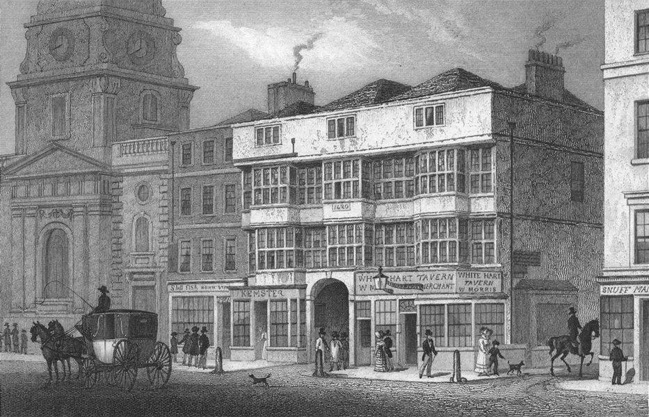 Associate Product LONDON. White hart tavern, Bishopsgate 1829 old antique vintage print picture